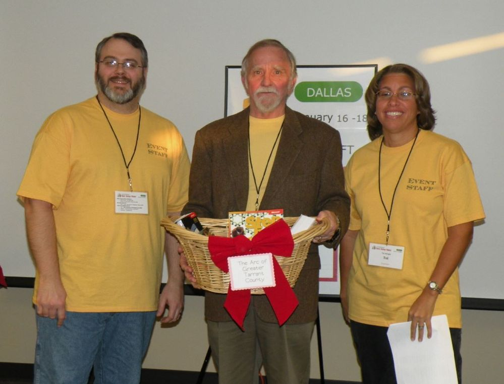 Giving out prizes from the inaugural GiveCamp back in 2009