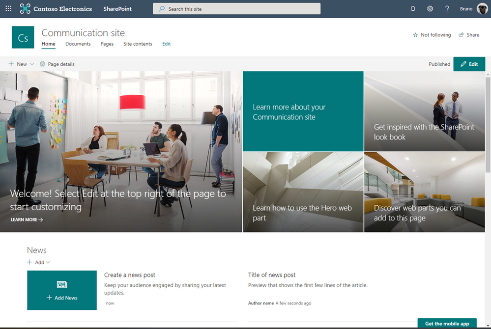 SharePoint Communication Site - Teal Theme