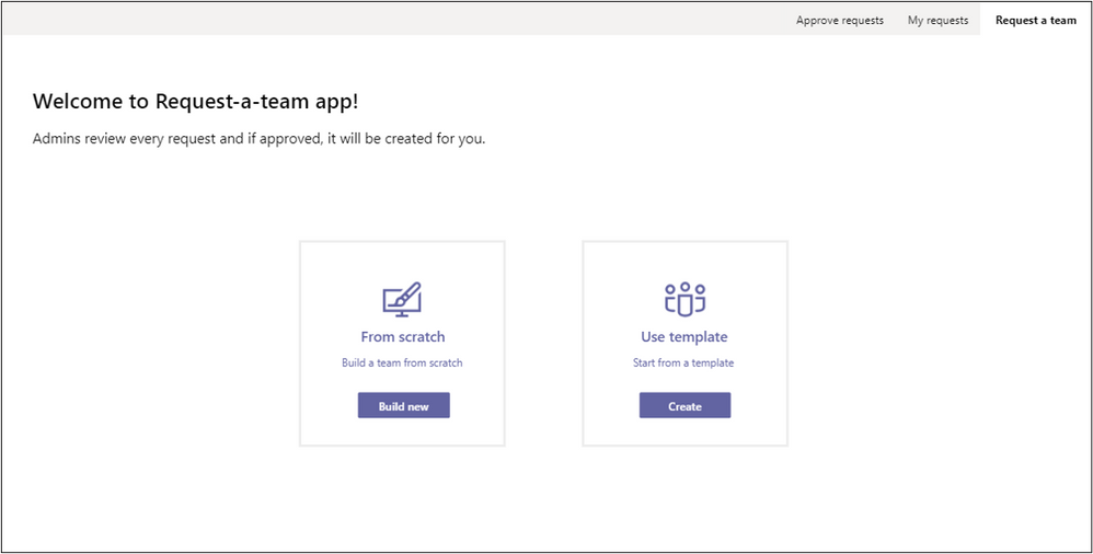 Figure 1 Landing Screen for team requests