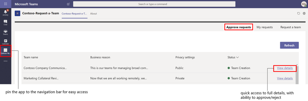 Figure 7 List dashboard showing Approve requests tab (for approvers)