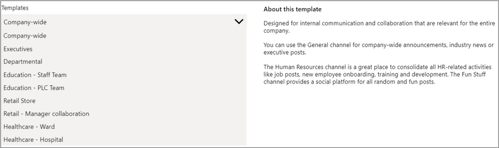 Figure 10 List of publicly available Microsoft templates