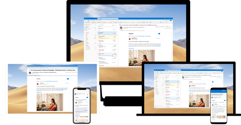 Yammer emails are now interactive across all versions of Outlook