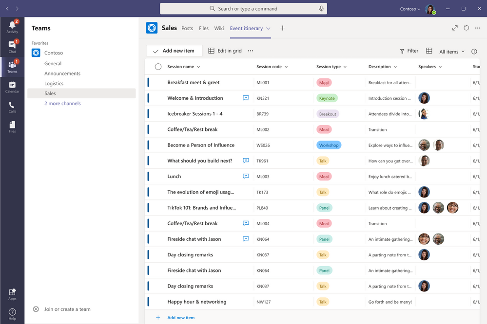 You can create, share, and track list all from within Microsoft Teams.