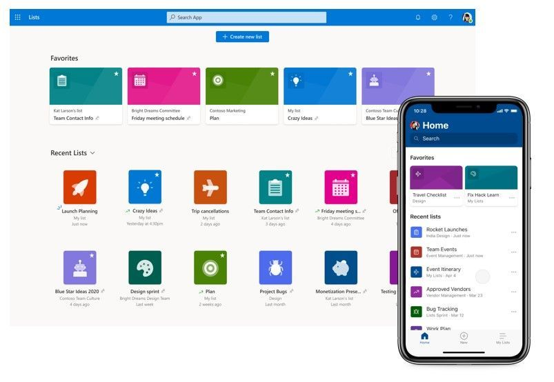 Left-to-right: Microsoft Lists home page in Microsoft 365 and the mobile app - both access to all your lists in one place.
