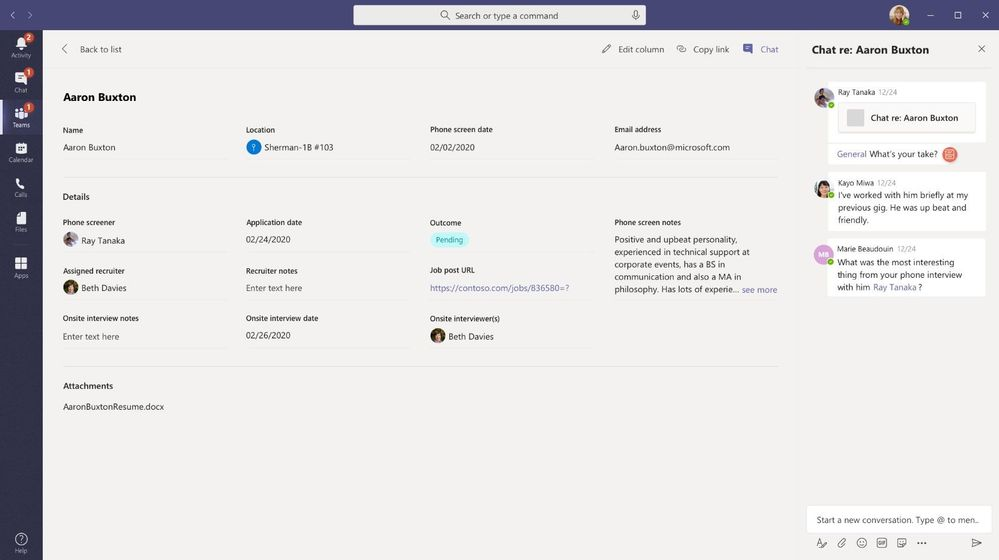 Viewing an individual list item inside of Microsoft Teams alongside chat.