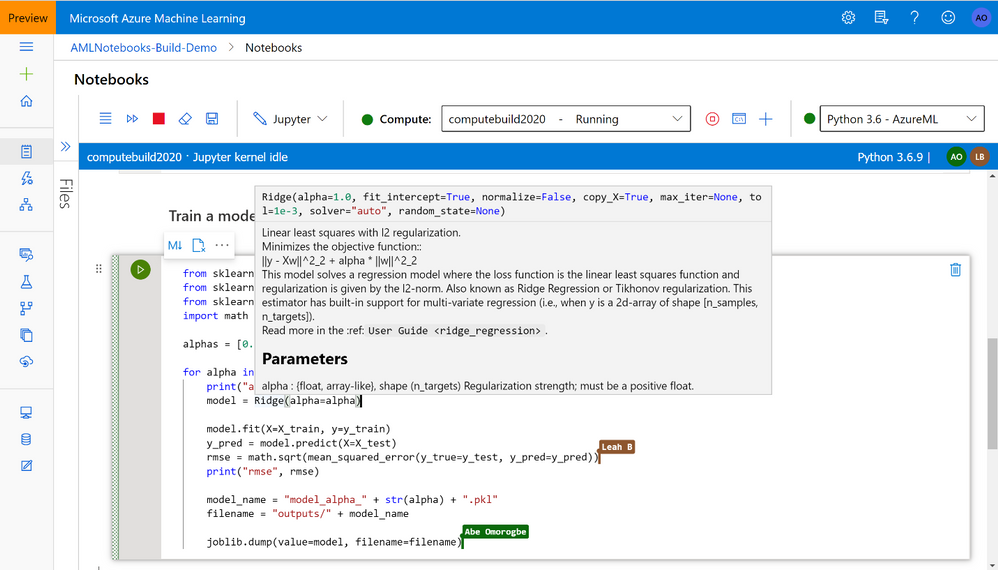 Azure Machine Learning's new preview integrated Jupyter notebooks will soon offer collaboration capabilities