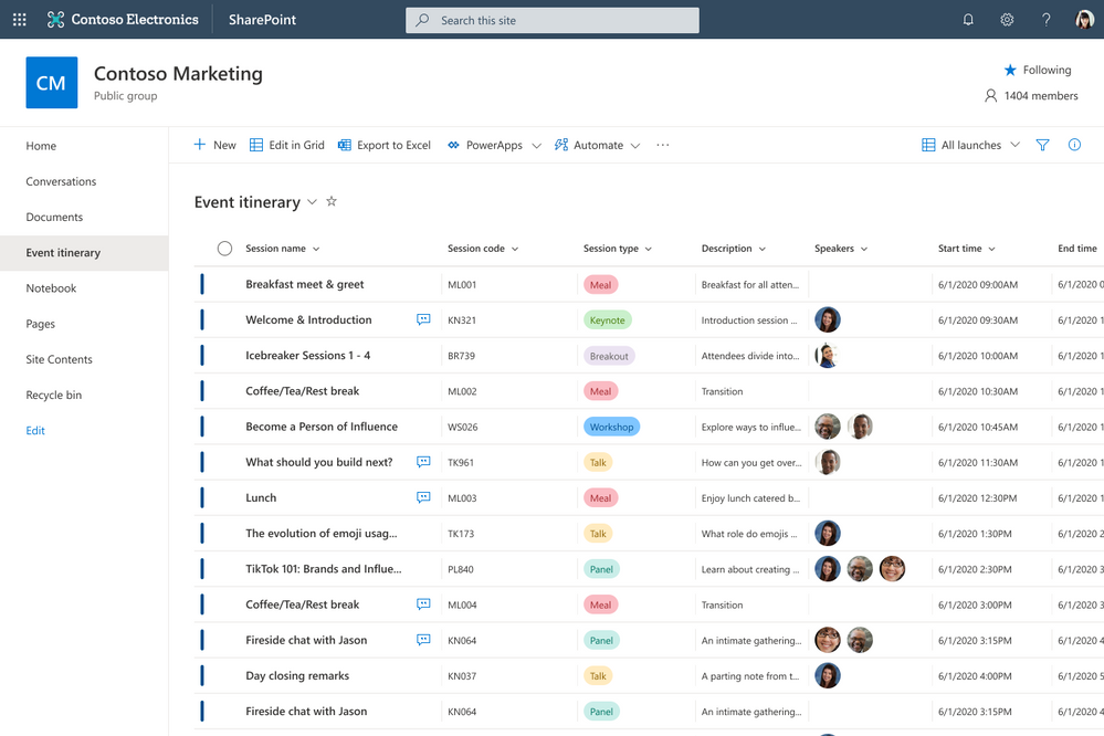 Microsoft Lists are stored in SharePoint sites and can be accessed from the new Lists home page, directly from the SharePoint team site (as shown here), or from within Microsoft Teams.