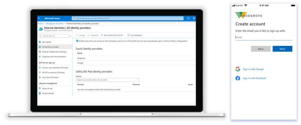 Configure the end-user experience for sign-up with social identities both in the Azure AD portal and via API.
