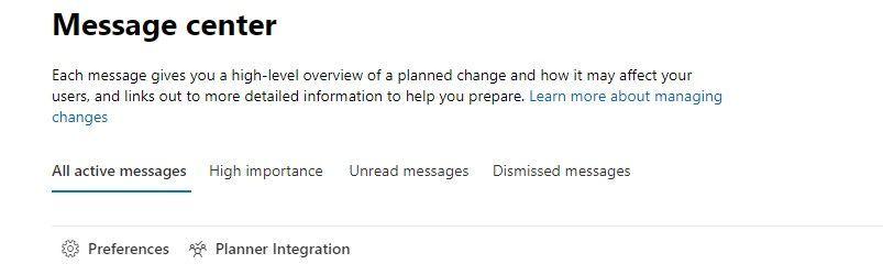 Planner integration for message center posts
