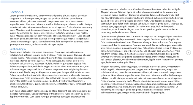 Reading view in Microsoft Word.