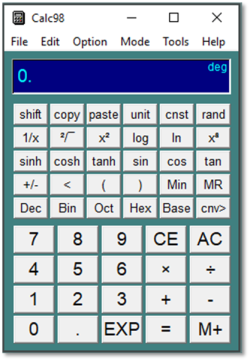 Calc98 Windows calculator from 1998