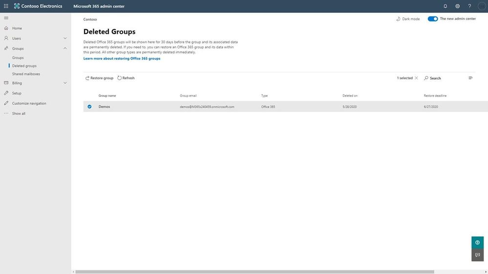 Easily restore deleted groups using the Microsoft 365 admin center