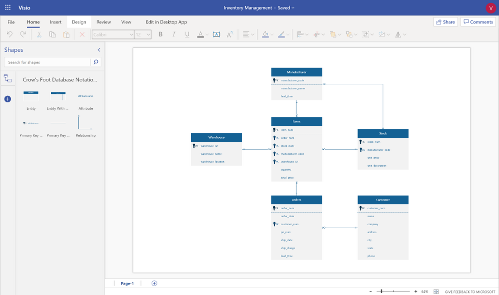 Design Your Database Using An Entity Relationship Diagram Erd In Visio Microsoft Tech Community 1422559