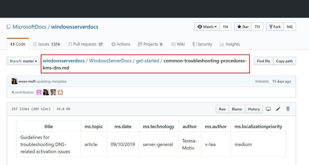 GitHub Document Location