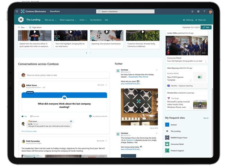 The Yammer Conversations web part, shown here on a SharePoint home site, enables two-way employee engagement across your intelligent intranet.