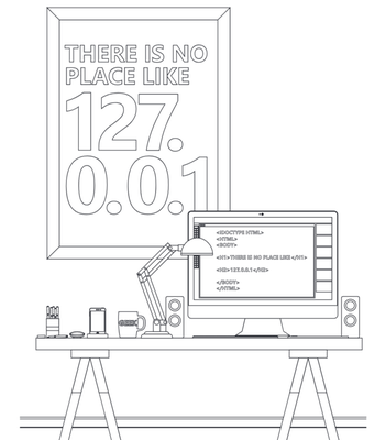 There is no place like 127.0.0.1 - coloring page preview