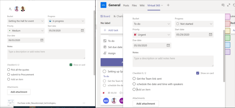 Fig 1.6 Planner Bucket view on the Web and on Microsoft Teams