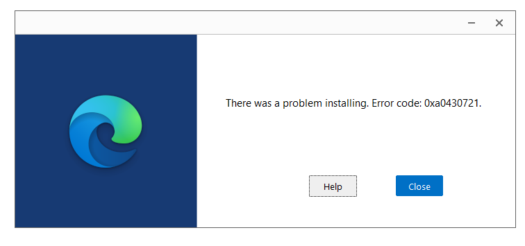 Error given by installer when trying to install Microsoft Edge Canary.