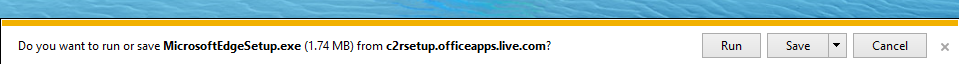 Download UI in IE where there is an option to run the file and delete it automatically when it closes or to save the file.
