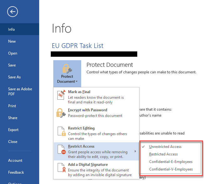 Azure RMS templates from Office backstage