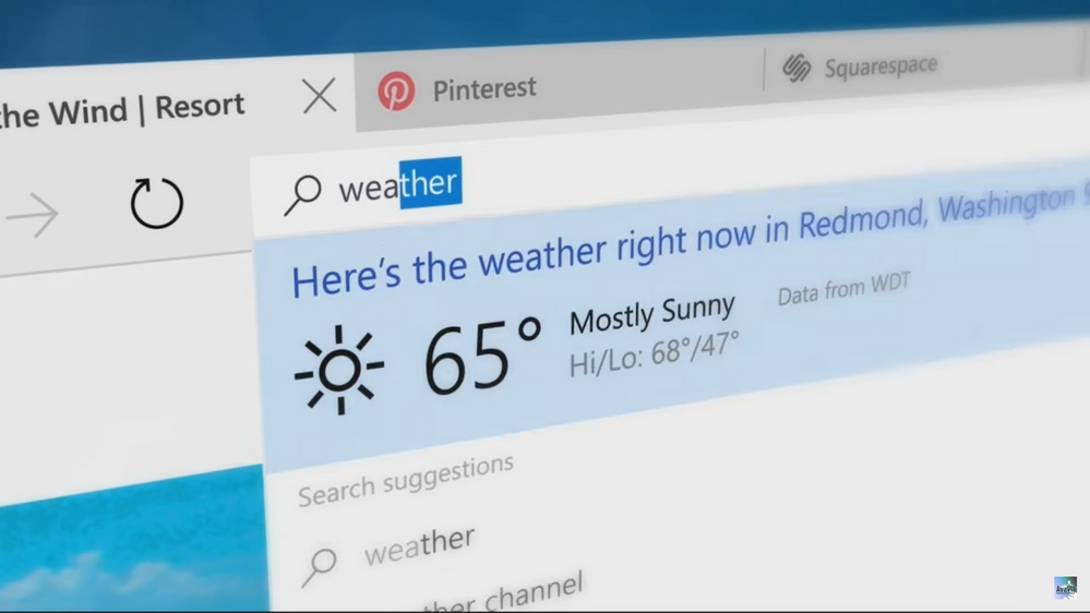 "With quick answers, you can look at weather in your location by just typing ""weather"" in the address bar."