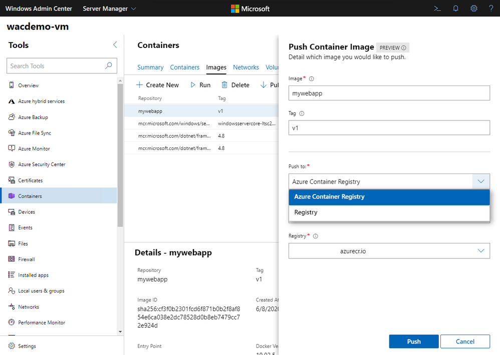 Windows Admin Center Container Extensions