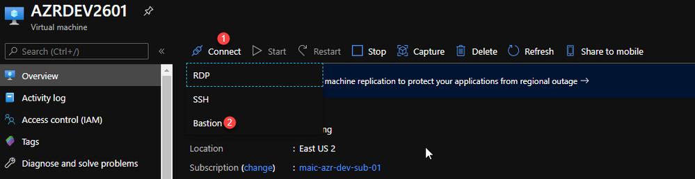 Select Azure Bastion