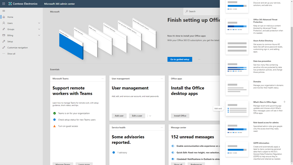 What's New in Office Apps card in the Microsoft 365 admin center