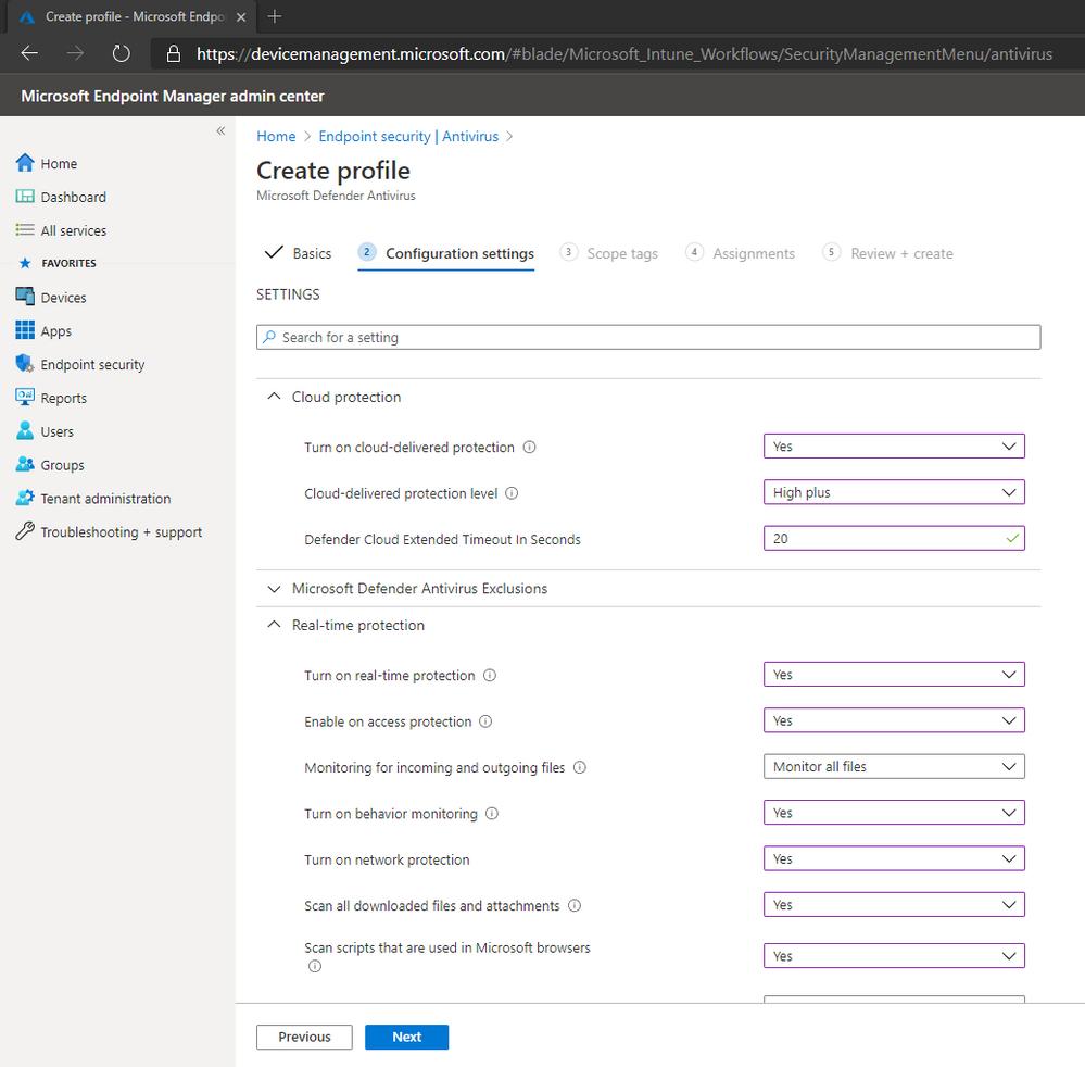 Configuring the WDAV Profile