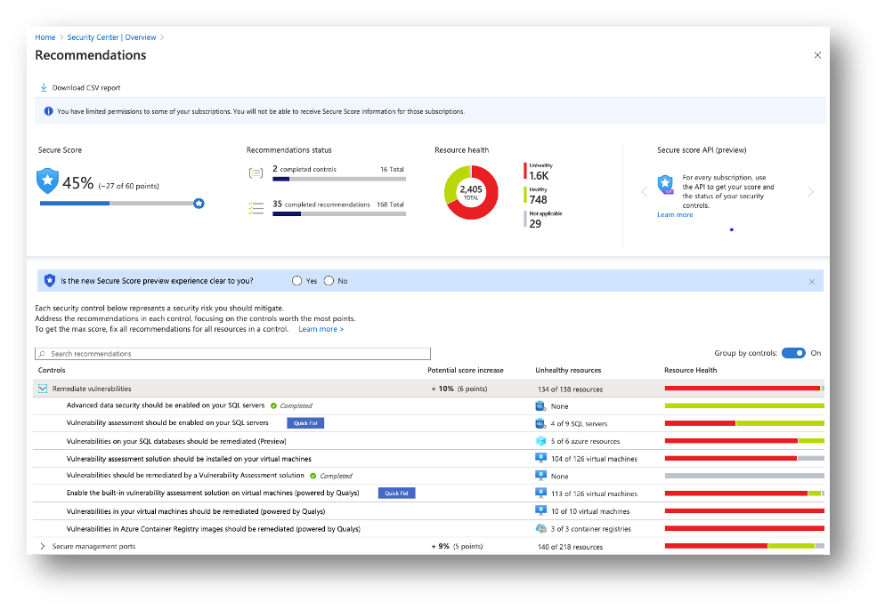 Figure 1 – Secure Score, recommendations, and security controls
