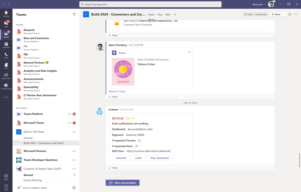 Incoming webhooks in Microsoft Teams now support Adaptive Cards.