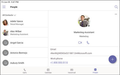 The People app on Microsoft Teams phones shows contacts in an organized way.
