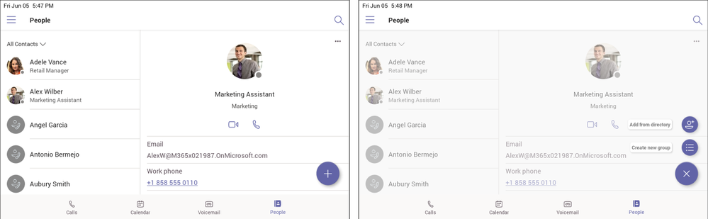 People (left) and create contact or contact group (right)
