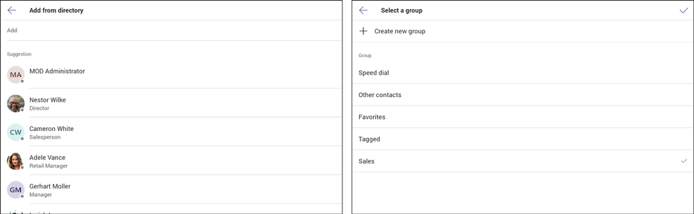 Add from directory (left) and Add to contact group (right)