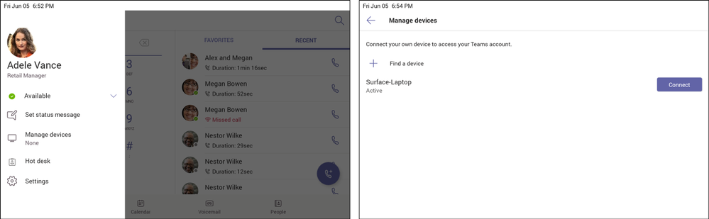1. Go to Manage devices on your Teams phone (left).  2.	Click Find a device and Connect to setup with your nearby Teams Windows Desktop client (right).