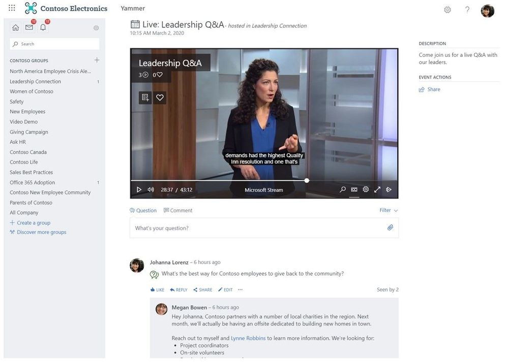 Create live events and have them show up directly in Yammer where viewers can participate in live discussion while watching.