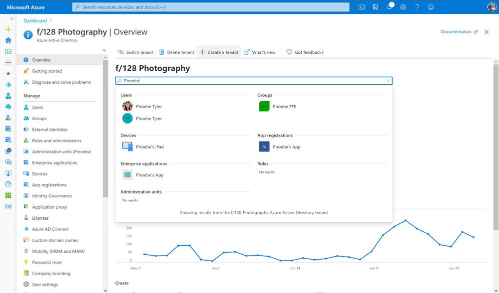 Unified search experience across users, devices, applications, and administrative units.