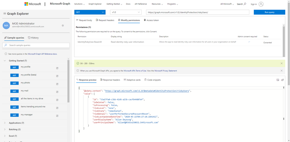 Query new Azure AD APIs in Microsoft Graph Explorer.