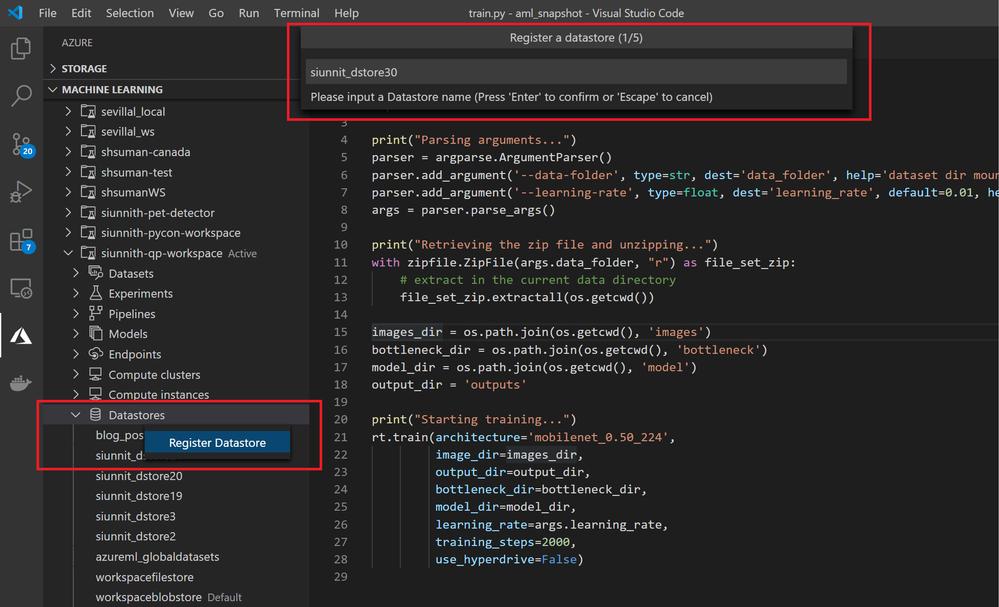 Register a Blob or File-based datastore in a highly streamlined manner