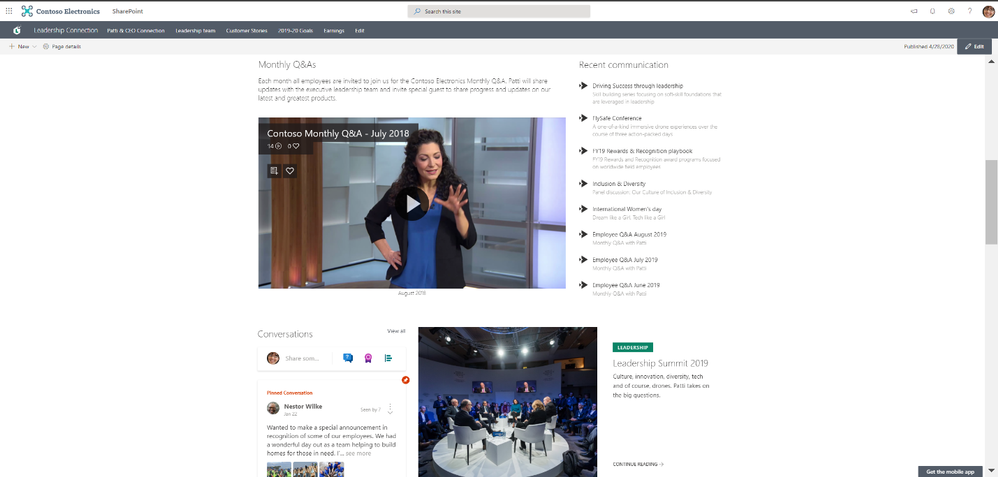 Add Yammer community discussions to your leadership page.