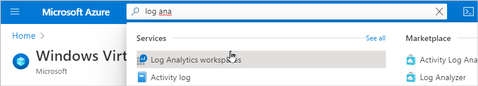 Searching for and selecting the Log Analytics workspaces service