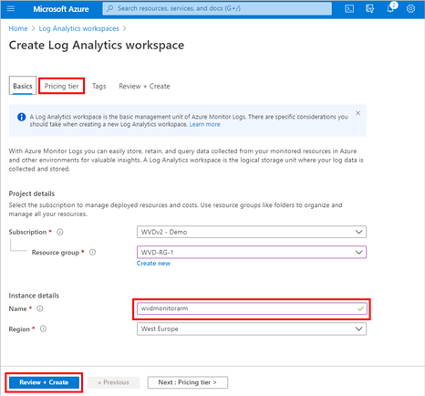 Reviewing and creating the Log Analytics workspace