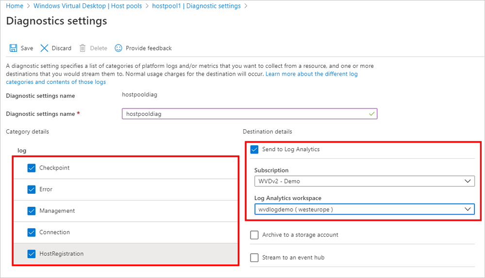 Specifying diagnostic settings and sending them to the Log Analytics workspace