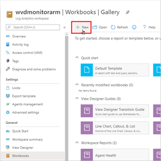 Creating a new workbook in Azure Monitor