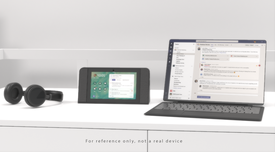 Dedicated Teams devices like Bluetooth headsets (left) and displays (center) create a more reliable calling and meeting experience.