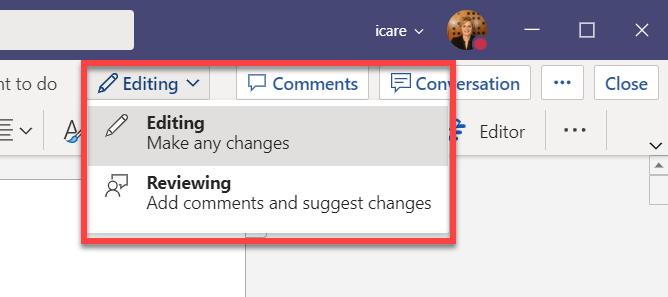 Editing versus reviewing mode.png