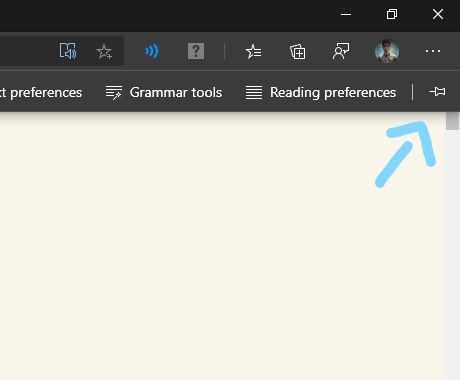 Top part of the scrollbar and scroll up button is not seen and usable when the top bar of the immersive reader is unpinned.