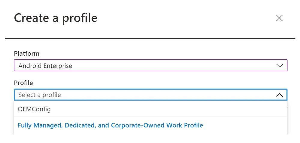 Create a profile - Device configuration profile