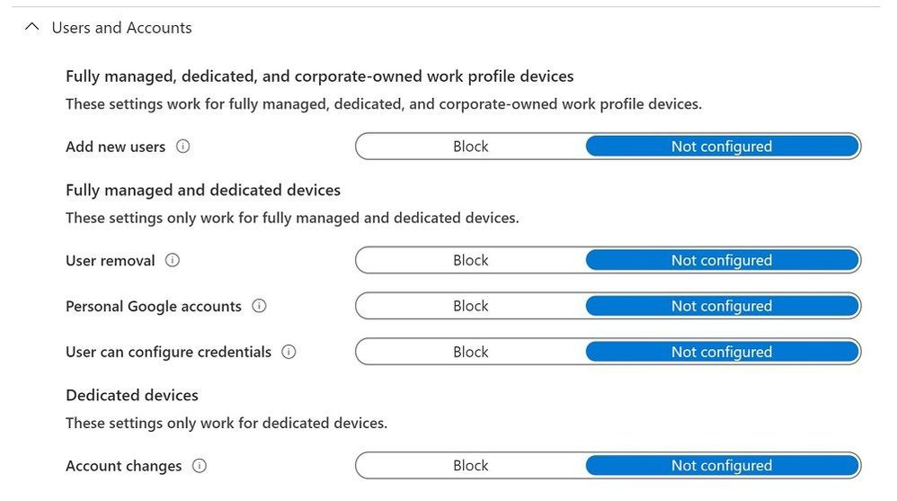 Device restrictions profile - Users and Accounts