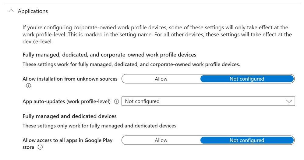 Device restrictions profile - Applications